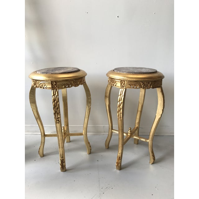 Art Nouveau Gilded Marble Top Side Tables - A Pair For Sale - Image 3 of 8