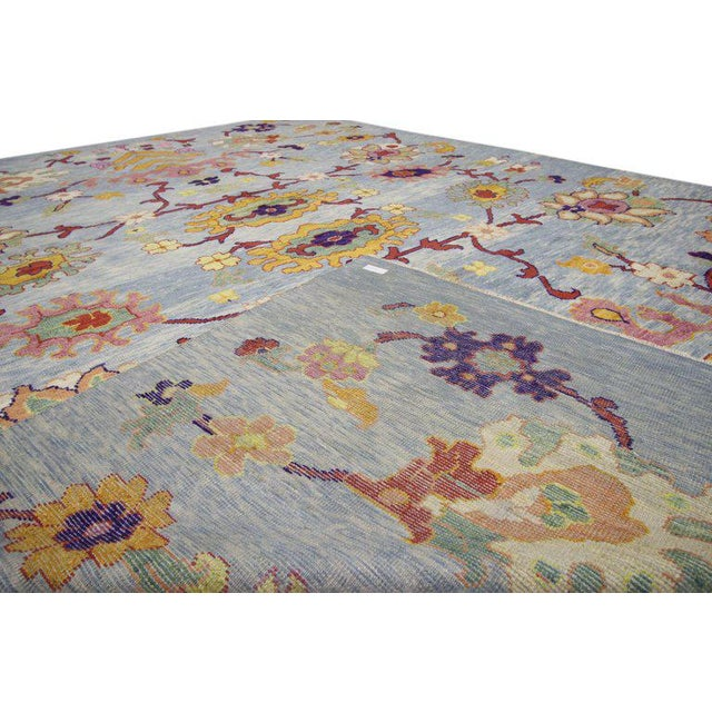 """Turkish Oushak Modern Style Floral Blue Area Rug - 10'7"""" X 14'8"""" For Sale - Image 4 of 5"""