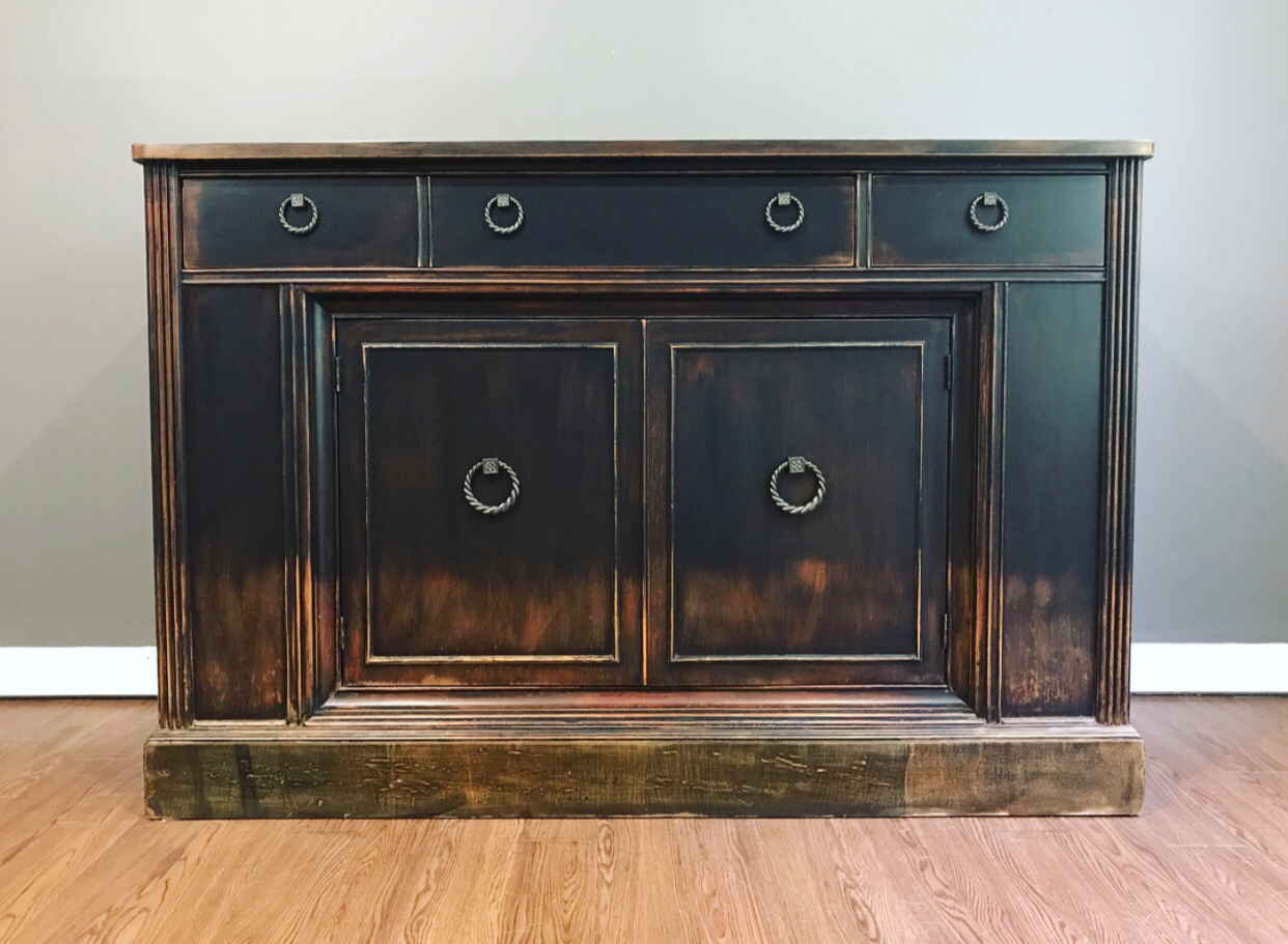 weathered black distressed sideboard buffet chairish rh chairish com Black Antique Buffet Sideboard Black Buffet Cabinet
