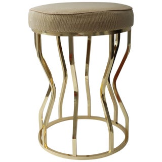 Mid-Century Hour Glass Form Round Vanity Stool in Polished Brass and Velvet Upholstery For Sale