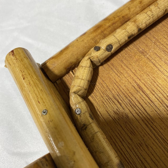 """Vintage Burnt Bamboo """"Breakfast"""" Tray Stand For Sale - Image 10 of 12"""