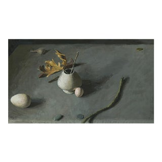 """Egg and Oak Leaves"" Still Life Painting"