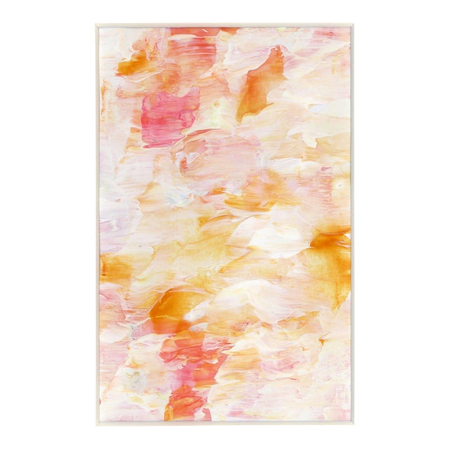 Original Frothee Modern Abstract Peach, Yellow & White Matted Impasto Acrylic Painting - Image 1 of 4