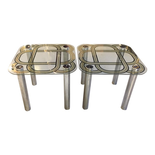Mid Century Graphic Top Glass &Chrome Side Tables - a Pair - Image 1 of 7