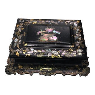 Antique English Paper Mache With Mother of Pearl Box For Sale