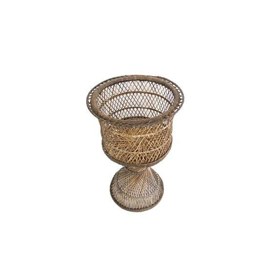 Vintage Natural Rattan Round Tall Pedestal Planter Plant Stand Holder - Image 2 of 2