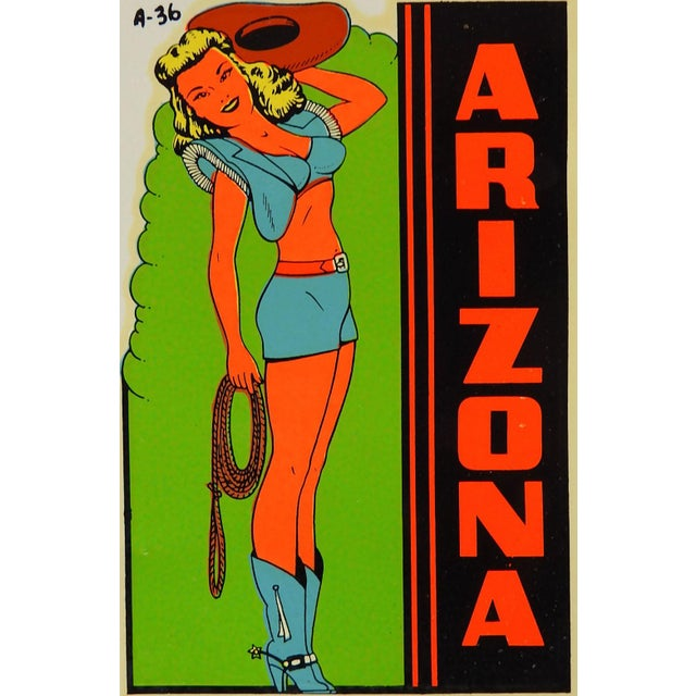 """Mid Century souvenir decal from Arizona. Pin up girl in skimpy cowgirl outfit in original cellophane envelope. 3"""" x 4.25"""",..."""