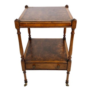 Diminutive Mahogany & Burl 2-Tier Side English Style Side Table For Sale
