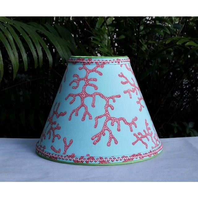 Lilly Pulitzer Fabric Lampshade Blue Red Clip On For Sale - Image 11 of 11