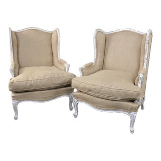 Pair Antique French Louis XV Painted Bergeres For Sale