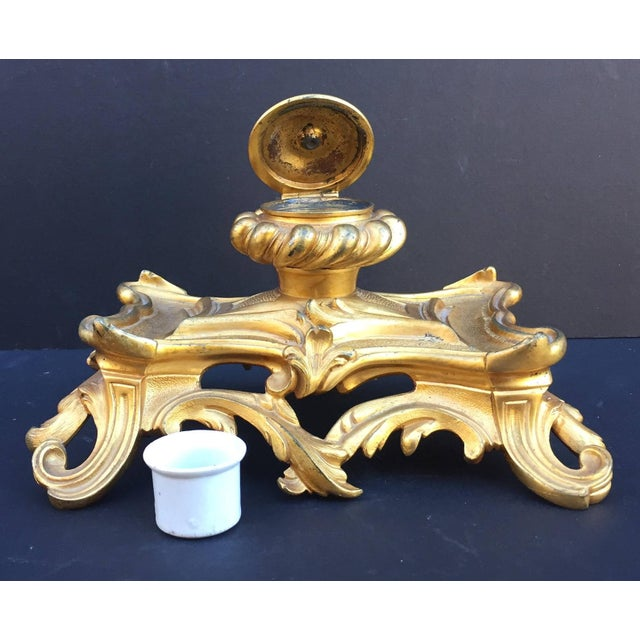 19th Century French Inkwell Bronze Louis XV Style Dore Encrier Desk Set For Sale - Image 4 of 10
