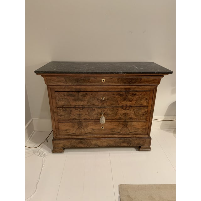 Chestnut Louis Philippe Burl Walnut Chest of Drawers For Sale - Image 8 of 8