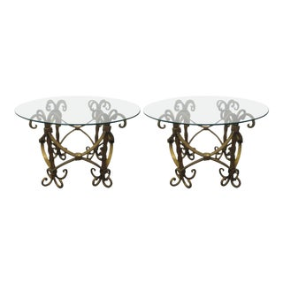 Pair of Italian Wrought Iron Gilt Tables For Sale