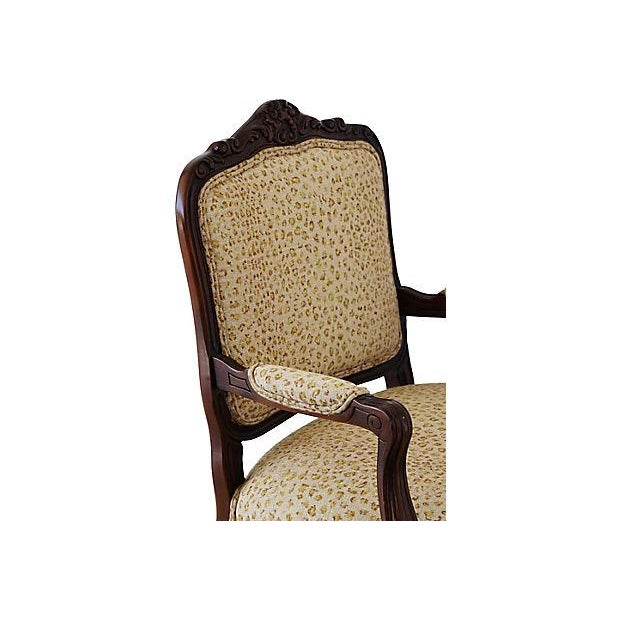 Adirondack Ralph Lauren Leopard Cheetah Animal Spot Linen Fabric Vintage Carved Armchair Chair For Sale - Image 3 of 13