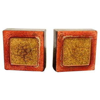 Ceramic and Glass Bookends After Raul Coronel - a Pair For Sale