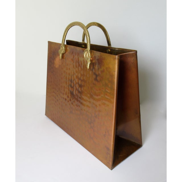 Boho Chic Vintage Hollywood Regency Copper & Brass Magazine Holder For Sale - Image 3 of 13