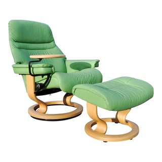 Ekornes Stressless Green Leather Chair Recliner Ottoman For Sale