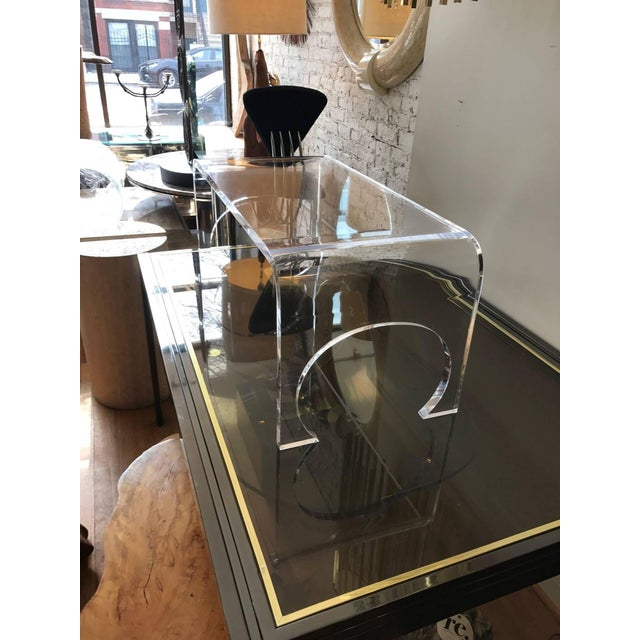 Lucite Waterfall Coffee Table in the Manner of Charles Hollis Jones For Sale - Image 10 of 11
