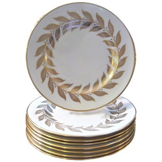 1950s Vintage Laurel Leaf Gilt Service Plates - Set of 8 For Sale
