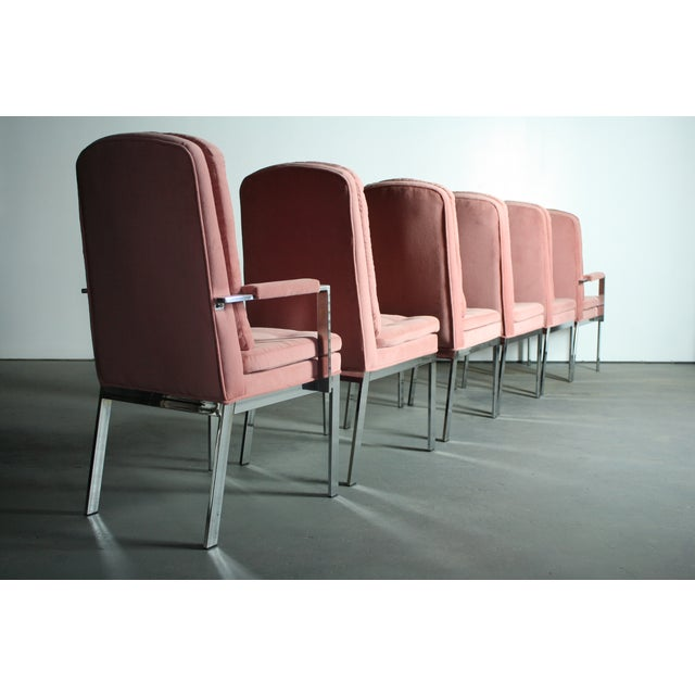 Milo Baughman Milo Baughman for DIA Blush Dining Chairs - S/6 For Sale - Image 4 of 12