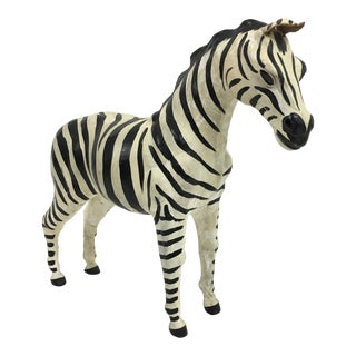 Hand Painted Leather Zebra Figure For Sale