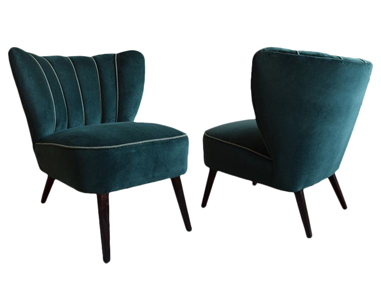 Mid Century Green Velvet Cocktail Chairs   A Pair