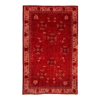 Red Vintage Turkish Rug- 5′11″ × 9′6″ For Sale