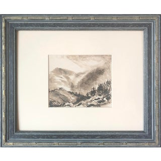 19th Century English Pen & Ink Wash Mountain Landscape Painting For Sale
