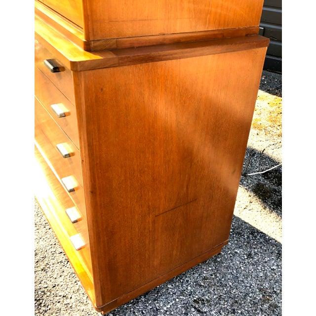 Brown 1960s Mid Century Modern Drexel Mahogany High Boy Dresser For Sale - Image 8 of 10