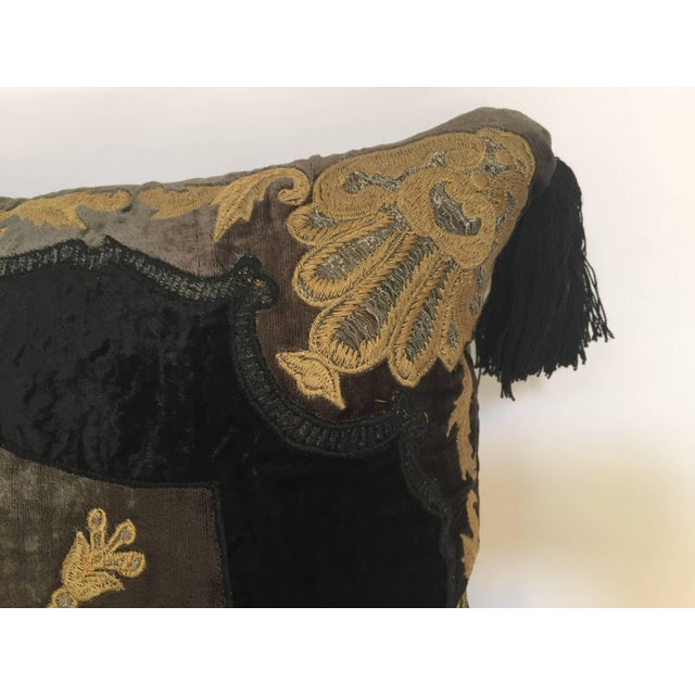 Mid 20th Century Moroccan Black Silk Decorative Pillow With Gold Metallic Threads and Tassels For Sale - Image 5 of 10
