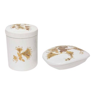Lidded Box and Canister by Bjorn Wiinblad for Rosenthal - Set of 2 For Sale