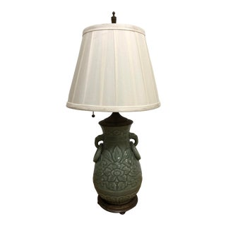 1920s Victorian Jade Ceramic Table Lamp With Shade For Sale