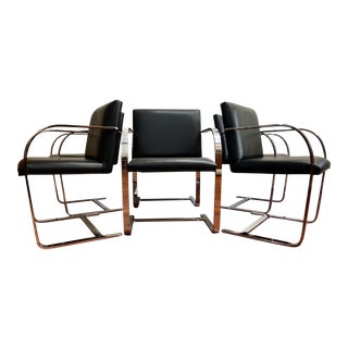 Mies Van Der Rohe - Brno Flat-Bar Chrome Leather Chairs - Set of 6 For Sale
