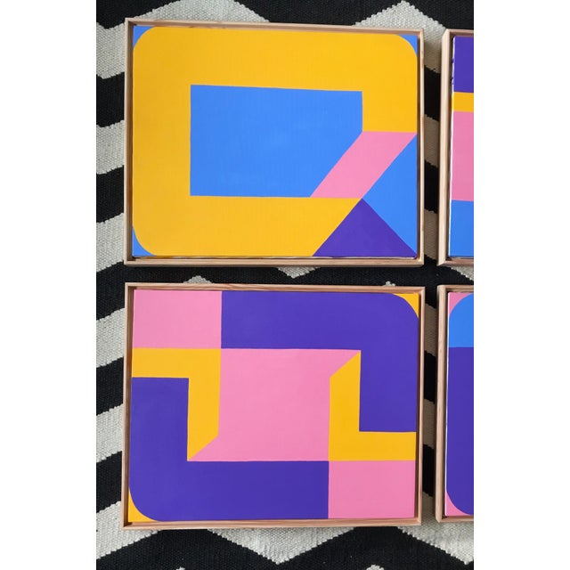 Colorful Post Modern Hard Edge Abstract Set of Six Framed Original Paintings For Sale - Image 4 of 9