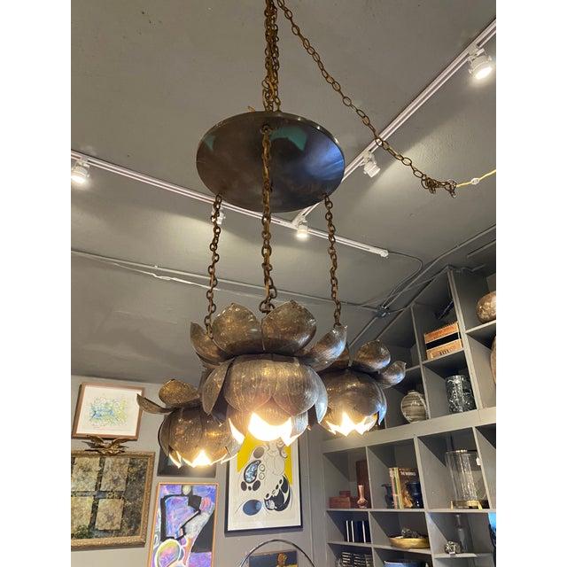 Mid-Century Brass Lotus Pendant Chandelier by Feldman Lighting Co. For Sale - Image 9 of 9