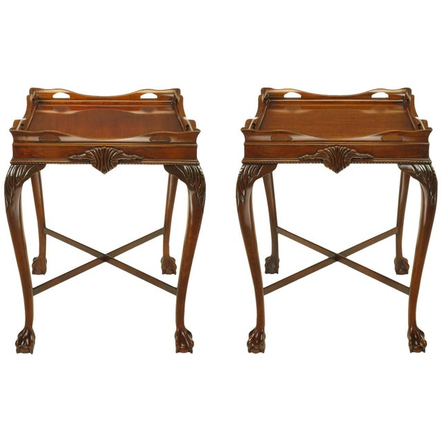 Pair of Mahogany Ball and Claw Footed George II Style End Tables For Sale - Image 11 of 11