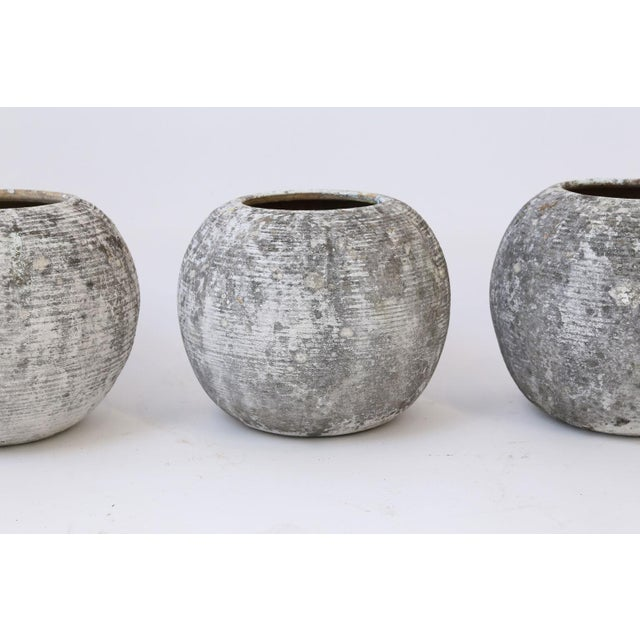 Ceramic Trio of Vintage Round Ribbed Planters For Sale - Image 7 of 11
