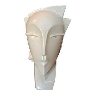 Vintage Lindsey Balkweill Style Art Deco Cream White Head Bust Vase For Sale