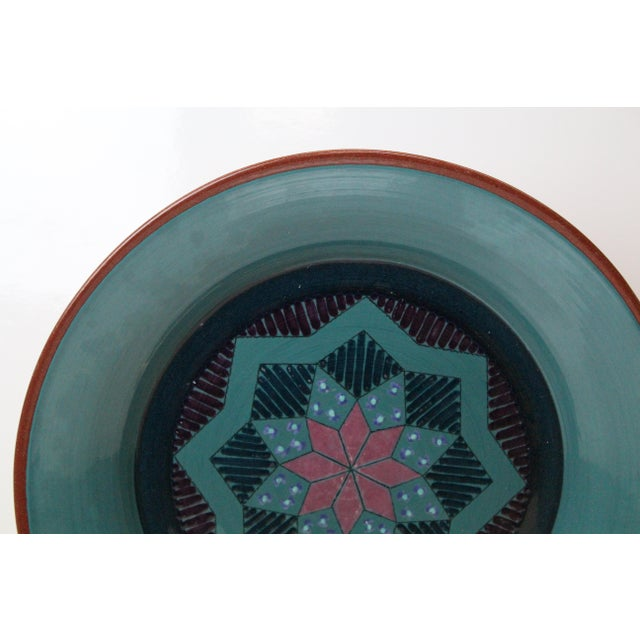 Boho Chic Vintage Turquoise Pottery Charger For Sale - Image 3 of 8