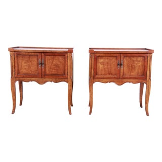 Baker Furniture French Country Fruitwood Nightstands, Pair For Sale