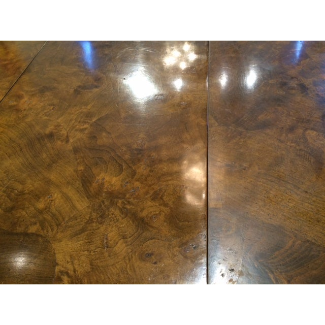 Modern Brass & Burlwood Parson Dining Table - Image 4 of 6