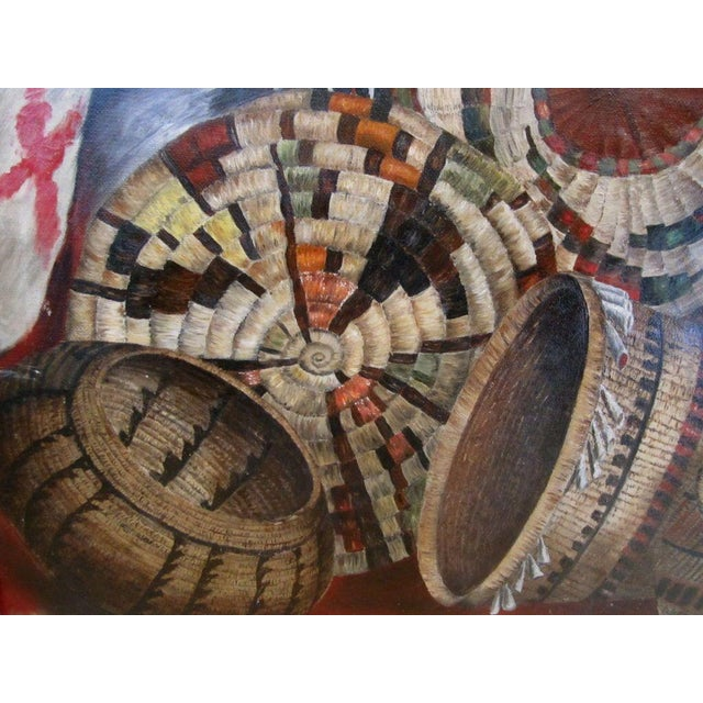 Native American Basketry Painting For Sale - Image 4 of 7