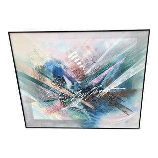 1980's Abstract Mixed Media Painting on Canvas by Lee Reynolds