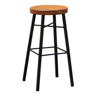 Custom Tiger Wood and Steel Stool For Sale
