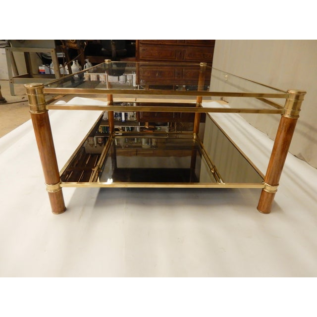 Mid-Century Glass, Mirror, Brass and Wood Coffee Table For Sale - Image 4 of 9