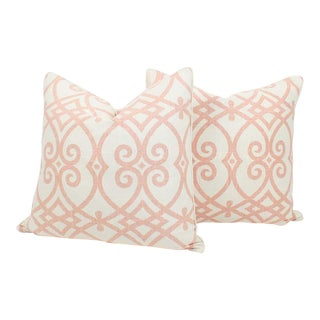 Pink and Ivory Linen Trellis Pillows, a Pair For Sale