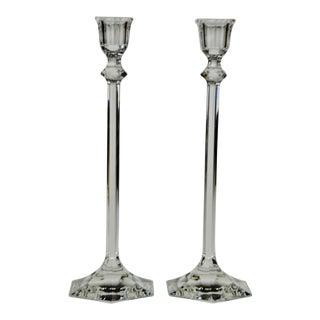 Vintage Glass Candlesticks - A Pair