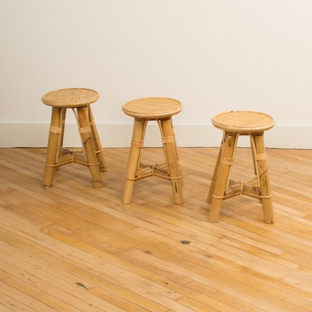 Early 21st Century Modern Bamboo and Rattan Stool For Sale - Image 5 of 10