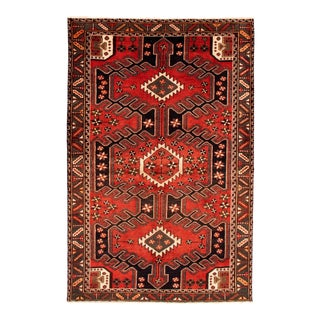 Hand-Knotted Tribal Red Rug For Sale