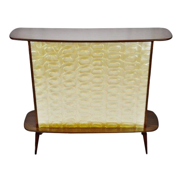 Mid Century Modern Walnut Formica & Faux Mother of Pearl Dry Bar For Sale